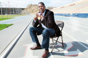 UTEP track coach Paul Ereng is celebrating his 25th year anniversary of being named an Olympian. In 1988, he won a gold medal in the men's 800-meter dash.  Photo by J.R. Hernandez / UTEP News Service