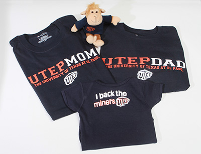 The first El Paso babies born in 2014 received a UTEP gift pack containing shirts for the parents and a onesie and stuffed monkey for the baby. The gifts were part of the University's efforts to ring in its Centennial year and look toward the future. Photo by J.R. Hernandez / UTEP News Service
