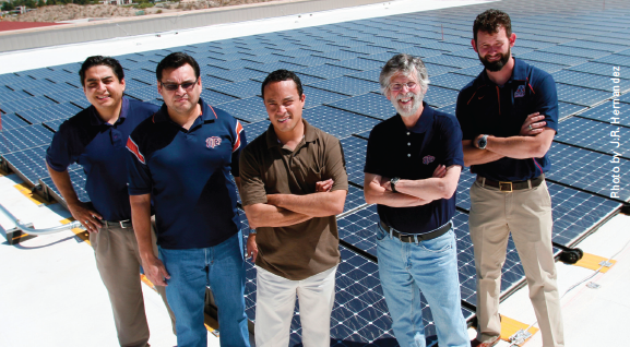 The UTEP Solar Group consists of, from left, Juan Noverón, David Zubia, Jose Nuñez, Luis Echegoyen and Michael Irwin. Not pictured: Chintalapalle Ramana and Tunna Baruah.