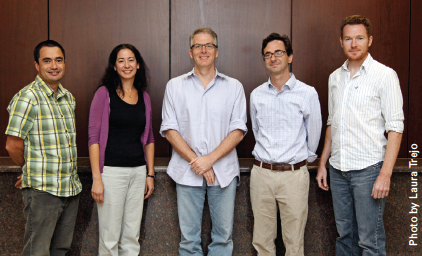 The UC Santa Barbara Group includes, from left, Javier Read de Alaniz, Dotti Pak, Craig Hawker, Michael Chabinyc and Kris Delaney.