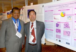 Mutombo Kankonde, M.D. (left), a local El Paso oncologist, and Jianying Zhang, Ph.D., a cancer biologist at UTEP, are working together to develop a test for the early detection of lung cancer. Photo courtesy of Dr. Kankonde.