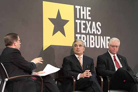 Texas Tribune CEO and Editor-in-Chief Evan Smith, left, moderates a panel discussion with University of Texas System Chancellor Francisco Cigarroa and Harold Hahn, chairman of the Texas Higher Education Coordinating Board. Photo by J.R. Hernandez / UTEP News Service