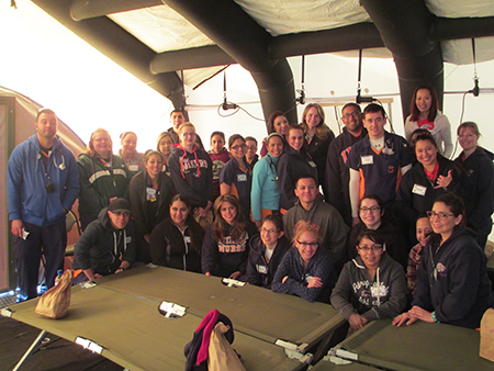 Students from the UTEP School of Nursing were part of the medical team that took care of participants at the 25th annual Bataan Memorial Death March. Photo courtesy of the UTEP School of Nursing.