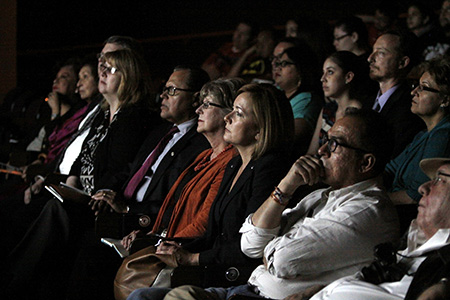 Guests and panelists who were in attendance for the El Paso premiere of the PBS documentary Ruben Salazar: Man in the Middle included El Paso icon Rosa Guerrero (second from left); El Paso Times editor Bob Moore (third from left), UTEP alumna and journalism lecturer Kate Gannon, State Sen. José Rodríguez, UTEP's Borderzine Director Zita Arocha; KHOU 11 News Border Bureau Chief Angela Kocherga, and Alfredo Corchado, Mexico Bureau Chief for the Dallas Morning News and UTEP graduate. Photo by Ivan Pierre Aguirre / UTEP News Service