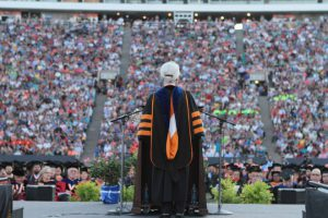 UTEP President Diana Natalicio addresses the more than 25,000 friends and family members of the more than 2,800 spring and summer graduates during the Saturday, May 17