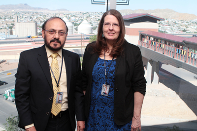 UTEP faculty members M. Margaret (Meg) Weigel, Ph.D., and Rodrigo X. Armijos, M.D., Sc.D., recently were awarded fellowships from the Ecuadorian government to conduct food insecurity and air pollution research in Ecuador. Photo by J.R. Hernandez / UTEP News Service