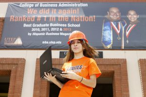 "Amber Gomez, a junior computer science major, plans to apply for UTEP's new B.S.-M.B.A. joint degree program. ""I can always be an engineer, but why not a CEO as well?"" she said. Photo by Ivan Aguirre / UTEP News Service"