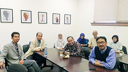University of Mulawarman faculty and students Irawan Kusuma, Ph.D.; Rudianto Amirta, Ph.D.; Emi Purwanti; Triyono Sudarmaji, Ph.D.; Vetty Vandasari, Sutedjo, Ph.D.; Mustafa Agung Sardjono, Ph.D; and Setiawati. The Indonesian team visited UTEP as part of an ongoing collaboration promoting communication practices for environmental conservation. Photo by Lisa Y. Garibay / UTEP News Service