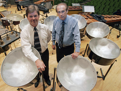 Larry White, left, professor of music, and Larry Murr, Ph.D., professor of metallurgical and material engineering, started UTEP's steel drum program in 1996. Photo by J.R. Hernandez / UTEP News Service