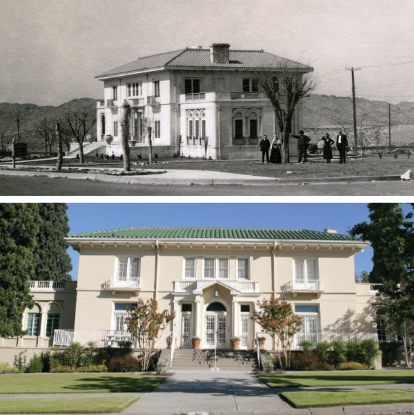 Top: An archival photograph shows what is now known as the Hoover House during its early years (circa 1919).  Bottom: The stately 7,063-square-foot mansion is the only official presidential residence owned by an institution in The University of Texas System.