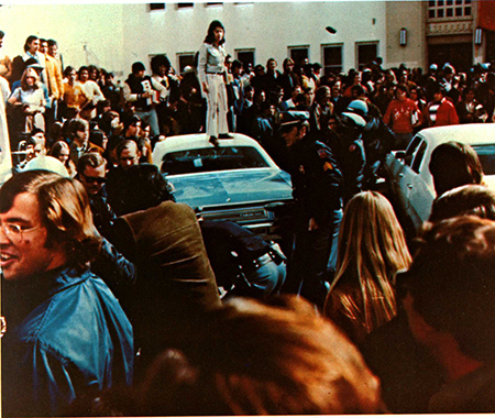 UTEP student activists congregate outside the Administration Building on Dec. 3, 1971 in support of Mexican-American equality on campus. Photo by Steve Larsen.