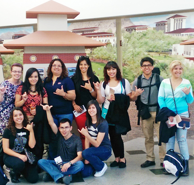 Early College High school students at UTEP pose in the El Paso International Airport before a study abroad trip to London and Paris. Photo courtesy of Donna Ekal.