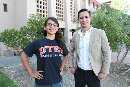 Gilman Scholarships went to 10 UTEP students who will study abroad this summer and fall. Ana Guzman, left, a senior civil engineering major, will go to Istanbul this summer, and Pedro Garcia, a junior political science major will visit Amman, Jordan, this fall. Photo by J.R. Hernandez / UTEP News Service