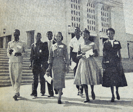 Some of the first African-American students at Texas Western College walk on campus after freshmen orientation in September 1955. They are, from left, William Milner, Marcellus Fulmore, John English, Mable Butler, Clarence Stevens, Margaret Jackson and Sandra Campbell.