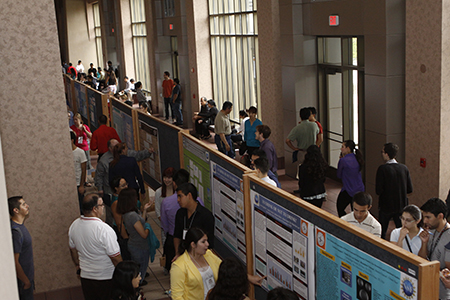 Hundreds of students, faculty and community attendees at the 2014 COURI Symposium learned more about the breadth of undergraduate research being undertaken on the UTEP campus. Photo by Ivan Pierre Aguirre.