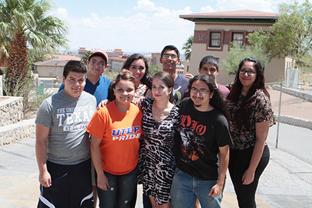 GEAR UP students participated in the College Connection program this summer to help prepare them for their first semester in college. Participants include, (back, from left) GEAR UP tutor Ezequiel Moreno, GEAR UP students Gina Moreno, Sebastian Quiñones, Michael Rangel and GenTX Mentor Marcela Aguayo, along with (front) GEAR UP student Mario Macias, GenTX Mentor Alejandra Rivera, University peer leader Paloma Pelayo, and GEAR UP tutor Sergio Guerrero. Photo by J.R. Hernandez / UTEP News Service