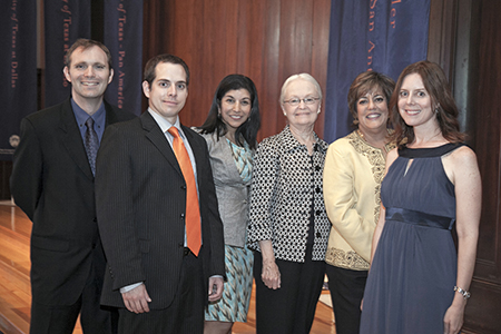 University of Texas at El Paso President Diana Natalicio, center, helped celebrate the recognition of five UTEP faculty who earned the prestigious UT System Board of Regents' Outstanding Teaching Award during an Aug. 20 ceremony in Austin. The honorees are, from left, Brian Yothers, José D. Villalobos, Gita Upreti, Ivonne Santiago, and Amy Wagler. Photo by Beverly Barrett