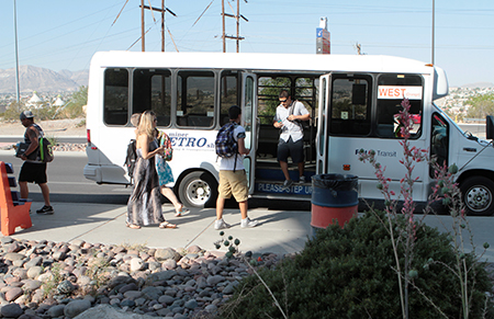 The Miner Metro shuttle system is offering a new free app in the fall semester that gives maps, routes and real-time information about the location of each shuttle to help riders schedule their days. Photo by  / UTEP News Service