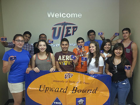 Upward Bound students attending at UTEP pose while promoting the VIP Card Fundraising Project. Photo by Mike Aldrete