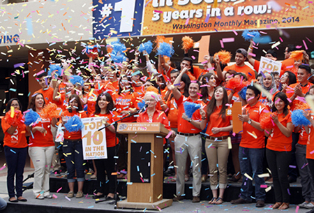 When UTEP President Diana Natalicio announced the University was ranked #1 in the category of social mobility for a third year in a row during an event Tuesday, Aug. 26, confetti was popped to celebrate. Photo by Ivan Pierre Aguirre / UTEP News Service