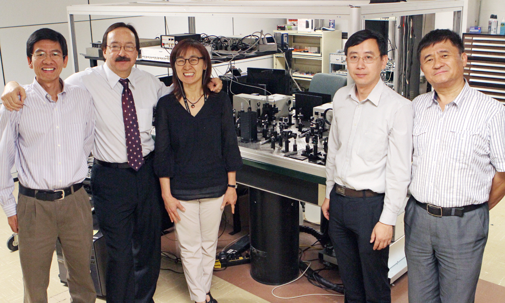 From left: Chunqiang Li, Ph.D., assistant professor of physics; Jorge Gardea-Torresdey, Ph.D., chair and professor chemistry; Kyung-An Han, Ph.D., associate professor of biological sciences; Chuan Xiao, Ph.D., assistant professor of chemistry; and Wei Qian, Ph.D., professor of electrical and computer engineering. Photo by J.R. Hernandez / UTEP News Service