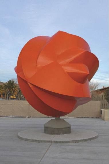 The sculpture Esfera Cuántica Tlahtolli by Sebastián was a gift from the people of Mexico to UTEP.