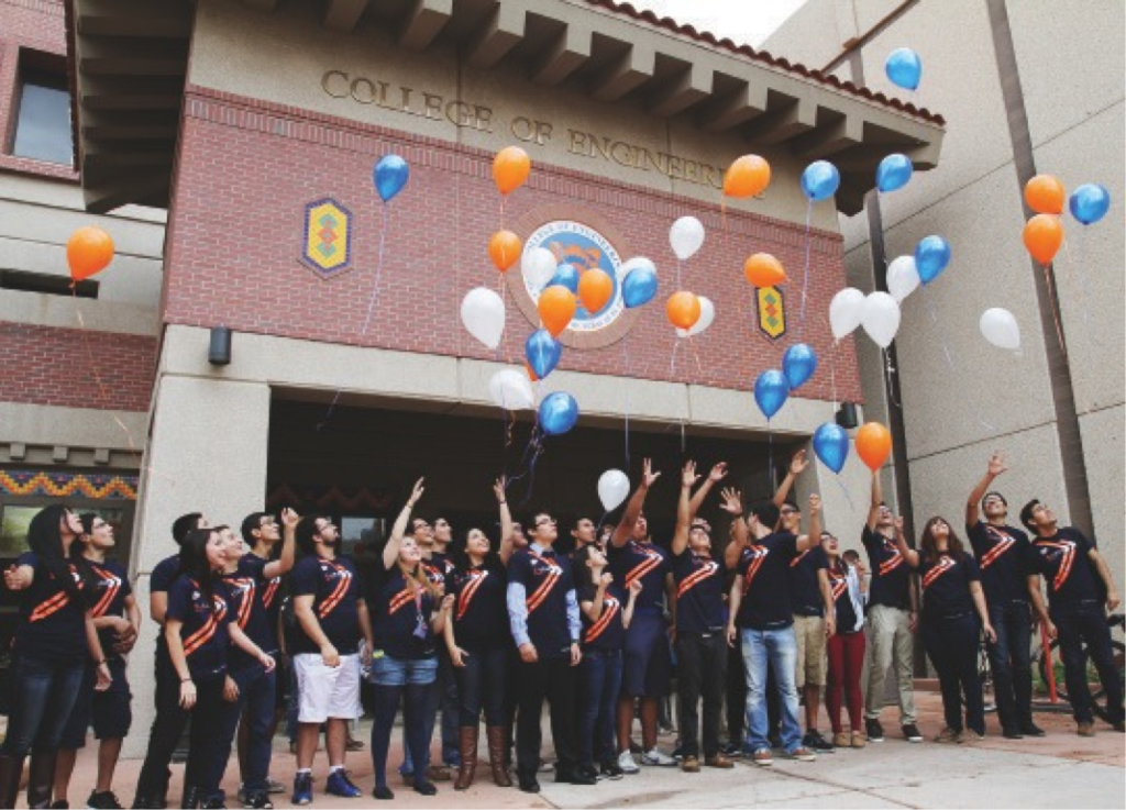 Pictured above: Minutes after the campus announcement about the new Engineering Leadership degree, students within the College of Engineering who planned to switch over to the new degree walked outside and released handfuls of bright balloons into the El Paso sky.