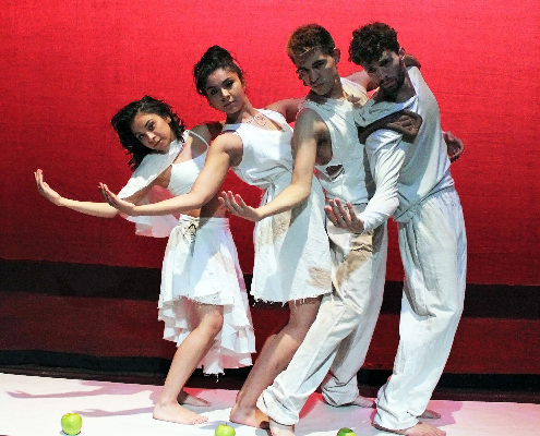 "UTEP students Skye Adams, Barbara Bernal, Julian Maldonado and Gabriela Moreno in the annual Dance Department concert performance, ""Dreamscapes,"" which opens on Feb. 6 at the Wise Family Theatre. Photo courtesy of UTEP Department of Theatre and Dance."