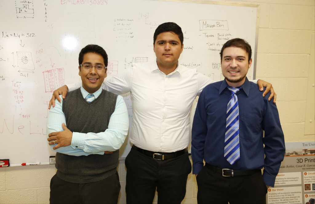 Electrical engineering students Edgar Bustamante, Ubaldo Robles and Jesus Gutierrez have been helped into commercialization by UTEP's entrepreneurial resources. Photo by Ivan Pierre Aguirre / UTEP News Service