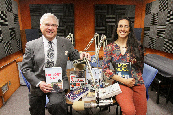 Perspectives, a weekend show on KTEP-FM (88.5), is booking more authors who are regulars on the New York Times Best-Seller List. Louie Saenz, left, is the host and Norma Martinez is the producer. Photo by J.R. Hernandez / UTEP News Service
