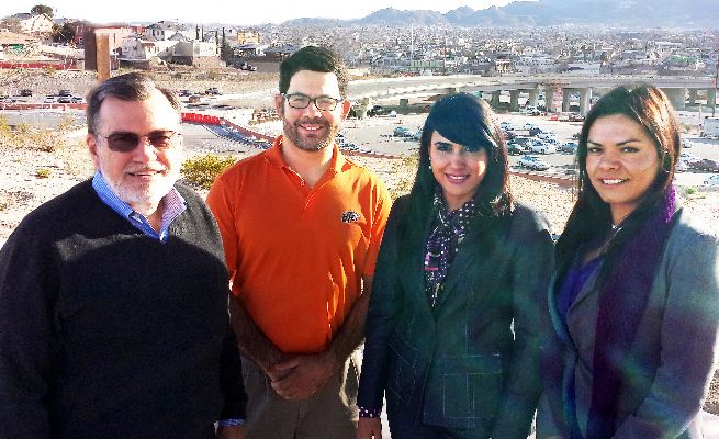 UTEP faculty members, from left, Richard Williams, Ph.D., and Paul Carrola, Ph.D., from the Department of Educational Psychology and Special Services, and counseling graduate students Elizabeth Lugo and Monica Gomez are researching the reasons behind the burnout experienced by mental health counselors in Juárez, Mexico. Photo by Daniel Perez / UTEP News Service