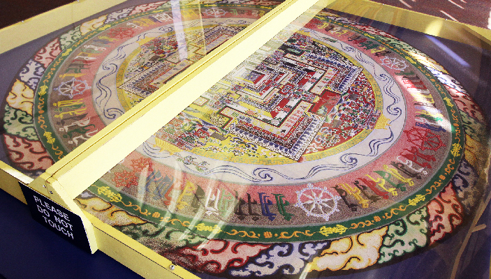 The completed Tibetan sand mandala can be see in the Bhutan Lounge of UTEP Union Building East until its dismantling at 3 p.m. Sunday, Feb. 22. Photo courtesy of Tortilla Productions.