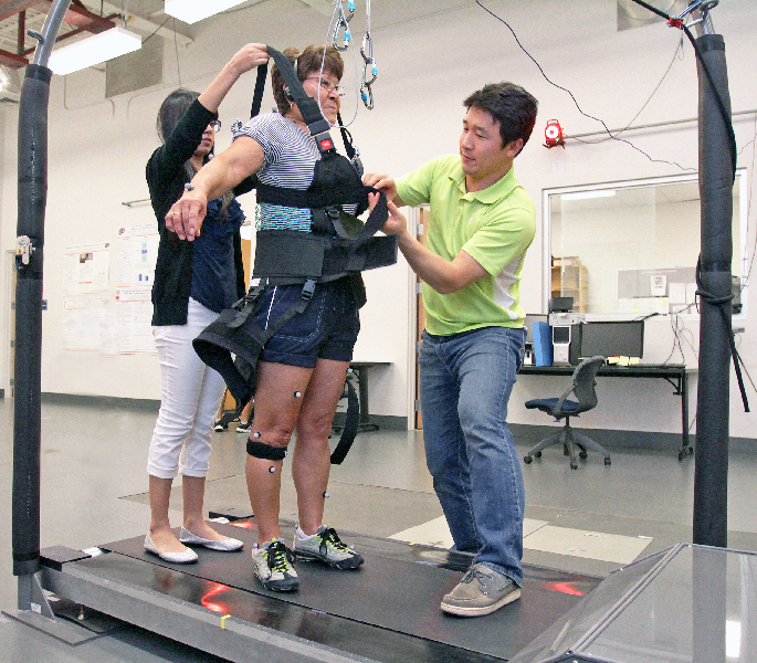 As part of the whole-body vibration study, Carmen Sandoval walks on a special treadmill, which simulates slipping by suddenly changing the moving direction of the belt. Participants are strapped into a harness to prevent injury. Photo by J.R. Hernandez / UTEP News Service