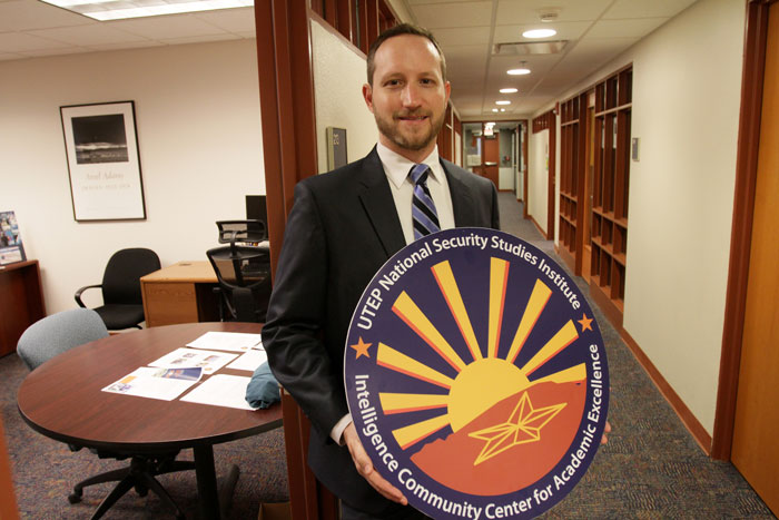 Peter Klundt, a second-generation Miner, will earn UTEP's first Master of Defense and Strategic Studies degree this spring. The fully online degree was launched in 2014. Photo by J.R. Hernandez / UTEP News Service