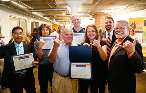 EPIC Fund grant recipients from UTEP include, from left, Ubaldo Robles, a doctoral student working with Raymond Rumpf, Ph.D.; David Roberson, Ph.D.; Russell Chianelli, Ph.D.; Aaron Nystrom, who is working with Roger Gonzalez, Ph.D.; Eva Deemer, Ph.D.; and Marc Cox, Ph.D. Associate Vice President for Research Stephen Aley, Ph.D., right, introduced the UTEP faculty members at an EPIC Fund announcement event June 17. Photo by Ivan Pierre Aguirre / UTEP News Service