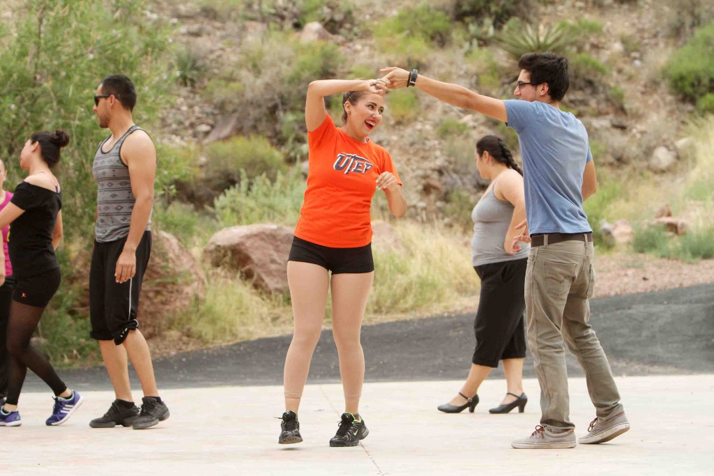 "UTEP dance major Samantha Siller rehearses a number for the newly revived ""VIVA! El Paso"", which runs at McKelligon Canyon Amphitheatre June 19 – Aug. 8. Photo by J.R. Hernandez / UTEP News Service"