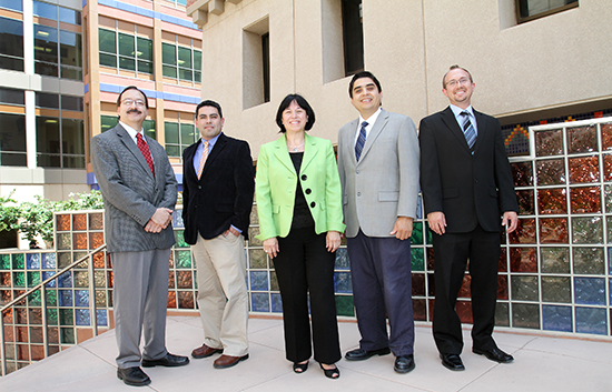 UTEP Project Leader for NEWT, chair of the department of chemistry and professor of chemistry and environmental science and engineering Jorge Gardea-Torresdey, Ph.D., with the university's team (from left to right): Assistant Professor of Chemistry Dino Villagran, Ph.D.; Assistant Professor of Social Work Eva Moya, Ph.D.; Associate Professor of Chemistry Juan Noveron, Ph.D.; and Assistant Professor of Civil Engineering Shane Walker, Ph.D. Photo by JR Hernandez.