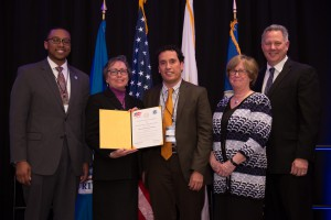 UTEP faculty accept their new Scholarship for Service grant from the National Science Foundation during a ceremony in Washington, D.C., on Jan. 12. From left to right: John Robinson, acting senior cyber security advisor to the deputy under secretary for cyber security & communications at the Department of Homeland Security National Protection and Program Directorate (NPPD); Ann Q. Gates, Ph.D., professor and chair of the UTEP computer science department; Associate Professor of Practice and Director of the Master of Science in Software Engineering Program Salamah I. Salamah, Ph.D.; Joan Ferrini-Mundy, Ph.D., assistant director, directorate for education and human resources, National Science Foundation; Clifton N., Triplett, senior cyber and information technology advisor, U.S. Office of Personnel Management. Photo courtesy of the National Science Foundation.
