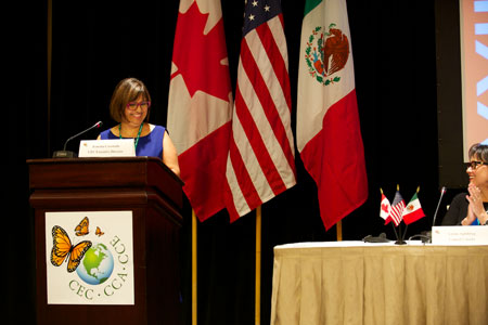 Irasema Coronado, Ph.D., at the podium, served as the executive director of the Commission for Environmental Cooperation (CEC) Secretariat, an organization through which Canada, Mexico and the United States collaborate on the protection, conservation and enhancement of North America's environment. Photo courtesy of Irasema Coronado