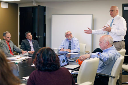 Architect Doug Lowe, president of Facility Planning and Consultants, recently updated UTEP's Interdisciplinary Research Building Planning Committee during a meeting in Kelly Hall.  Photo by Laura Trejo / UTEP Communications