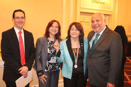 """Josefina V. """"Josie"""" Tinajero, Ed. D., professor of bilingual education at UTEP, gives a """"Picks Up"""" after receiving her Ohtli Award for professional distinction from the Mexican government on March 4, 2016,. Sharing the moment are, from left, Julián Escutia-Rodríguez, head of consular coordination and Hispanic Affairs from the Mexican Embassy in Washington, D.C.; Laura Machuca-Silveyra, CEO of Eduspark; and Carlos Macias, Consul General of Mexico in Chicago, Illinois. Photo courtesy of Josefina Tinajero"""