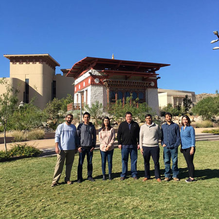 Researchers from UTEP's Goddard Combustion and Propulsion Research Facility who shared the 2016 award for best paper from the AIAA Terrestrial Energy Committee are, from left: master's students Jad Aboud and Omar Vidana; doctoral student Luisa Cabrera; faculty adviser Norman Love, Ph.D.; doctoral student Manuel Hernandez; master's student Brian Lovich; and bachelor's student Analuisa Garcia. Not pictured: master's student Mariana Chaidez.