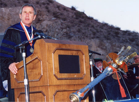 Former U.S. President George W. Bush, then governor of Texas, gave UTEP's Commencement address in 1998.