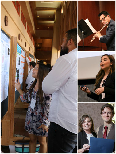 Undergraduate students present their research during the spring 2016 COURI Symposium. Photos courtesy of COURI.
