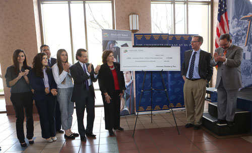 Educate Texas presents UTEP with a $725,000 grant as part of its Texas Regional Science, Technology, Engineering and Mathematics (STEM) Degree Accelerator initiative. Photo by J.R. Hernandez / UTEP Communications