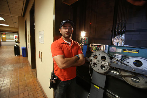 Fernando Garcia, a junior mechanical engineering major, spent part of his spring 2016 semester as an intern in UTEP's Elevator Shop, where he performed preventive maintenance on the University's 84 elevators. Photo by J.R. Hernandez / UTEP Communications
