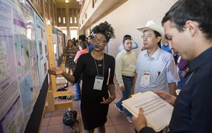 A student presents her research during the COURI Summer Symposium in the UGLC, Saturday, August 6, 2016, in El Paso, Texas. Photo by Ivan Pierre Aguirre/UTEP Communications