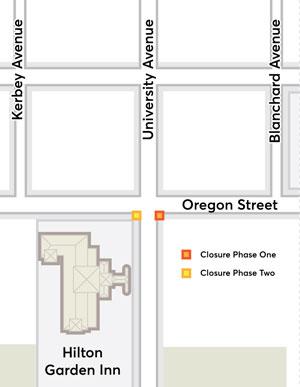 Map of sidewalk closure