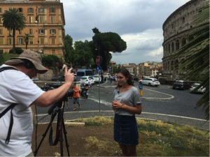 Alexandra Jones records part of her five-minute film documenting her research while in Rome.<br /> Photo courtesy of Alexandra Jones
