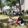 Students outside the UTEP Library. Photo by: Ivan Pierre Aguirre, UTEP Communications